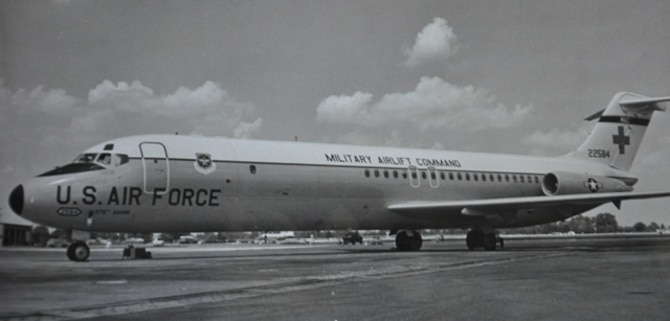 The C-9A Nightingale made its debut in 1968, landing at Scott Air Force Base, Ill. Created to be a dedicated aeromedical evacuation aircraft, the C-9A was equipped with advanced medical capabilities and faster speeds, which made it an effective addition to the U.S. Air Force's aeromedical evacuation system. (U.S. Air Force photo)