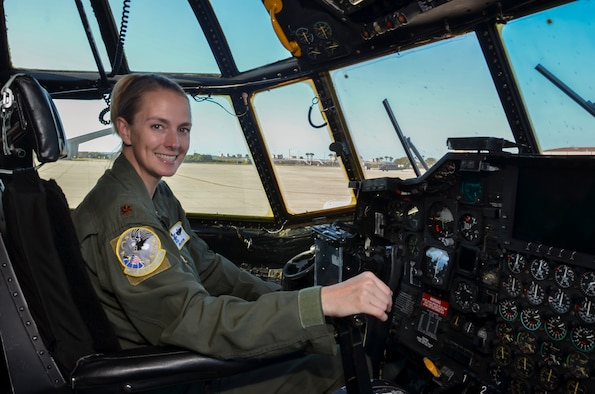 Maj. Jennifer Orton, a combat search and rescue (CSAR) pilot with the 39th Rescue Squadron here, flies the HC-130P/N King fixed-wing aerial refueling aircraft on missions for the 920th Rescue Wing. Orton recently discovered that according to the 39th RSQ she holds the title of being their first female Air Force Reserve fixed-wing CSAR pilot. (U.S. Photo by Senior Airman Brandon Kalloo Sanes)