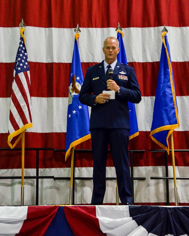 Brig. Gen. Steven Parker speaks to members of the audience during his promotion ceremony held at Dobbins Air Reserve Base Jan. 6, 2017. Parker will be the first one-star general to serve as wing commander at Dobbins since 2006.
