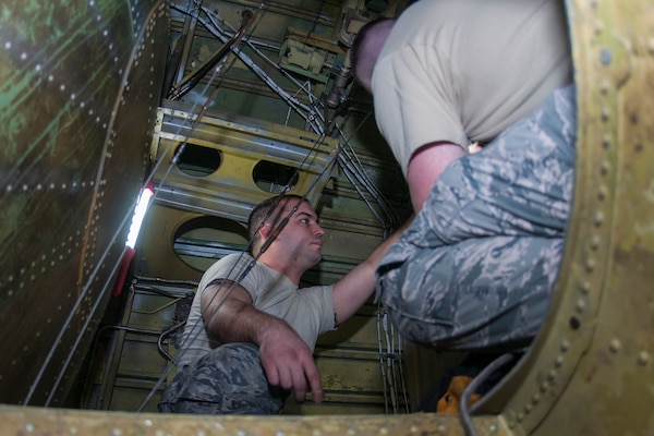 Tech Sgt. Trevor Gray, 434th Maintenance Group repair and reclamation technician, reinstalls a stabilizer trim actuator on Jan. 8, 2017 at Grissom Air Reserve Base, Ind. The stabilizer trim actuator controls the horizontal stabilizer which along with the elevator the pilots use to adjust the pitch, or up and down movement, of the aircraft's nose. (U.S. Air Force photo/Staff Sgt. Dakota Bergl)