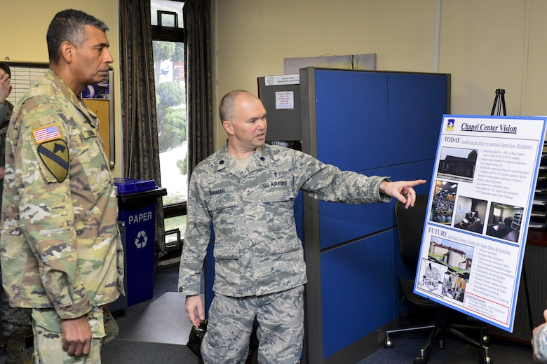 U.S. Air Force Chap. (Lt. Col.) Jeffrey Granger, 51st Fighter Wing wing chaplain, explains the vision for future improvements to the Osan Air Base chapel is to U.S. Army Gen. Vincent K. Brooks, United States Forces Korea commander, Jan. 5, 2017, at Osan Air Base, Republic of Korea. Granger took the audience with Brooks as an opportunity to highlight how the size and scope of Team Osan has increased over the years while the chapel facilities have not yet advanced, and how funding for new chapel facilities will impact the entire base. (U.S. Air Force photo by Senior Airman Victor J. Caputo)