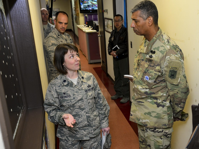 U.S. Air Force Lt. Col. Breanne Roeckers, 51st Force Support Squadron commander, details current features the Osan Child Development Center facilities lack to U.S. Army Gen. Vincent K. Brooks, United States Forces Korea commander, Jan. 5, 2017, at Osan Air Base, Republic of Korea. Osan Air Base leadership is currently developing a vision for new CDC facilities to improve quality of life for Osan families, to include resolving problems such as classrooms not being large enough and adding private breast-feeding rooms. (U.S. Air Force photo by Senior Airman Victor J. Caputo)