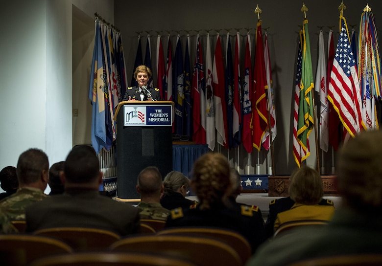 Chief Warrant Officer 5 Mary Alice Hostetler gives her remarks during her retirement ceremony held at the Women's Military Memorial on Jan. 7 in Arlington, Virginia. Hostetler enlisted into the Army in July 1976 and was promoted to CW5 in April 2013 as the Command Chief Warrant Officer of the 200th Military Police Command. Hostetler served more than 40 years in the United States Army. Hostetler accomplished many milestones, from being the first female in a military police company, the first female to provide protective services in a combat zone, to leading a team in charge of protecting the Secretary of Defense. Hostetler says of all the things she's done in her career, the best thing she's ever done was wear the Army uniform. (Army Reserve Photo By: Sgt. 1st Class Sun Vega)