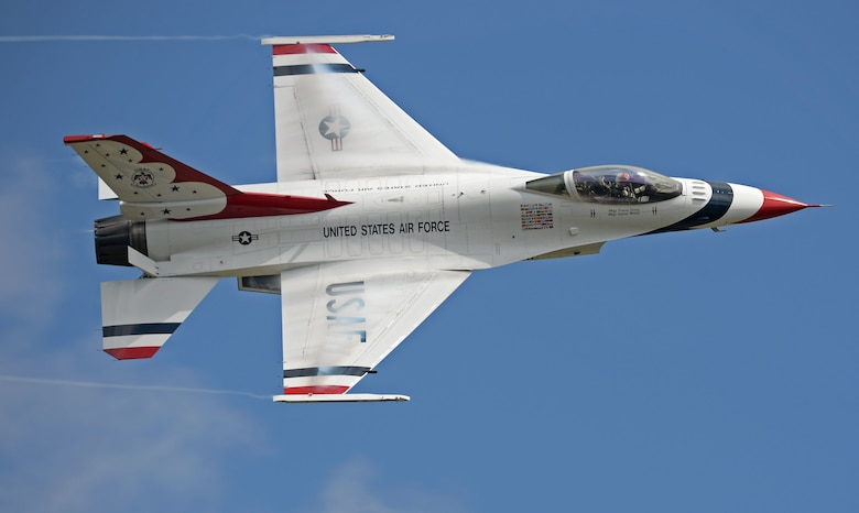 "A member of the U.S. Air Force Demonstration Team ""Thunderbirds"" performs an aerial demonstration at the Shaw Air Expo and open house, ""Thunder over the Midlands,"" at Shaw Air Force Base, S.C., May 21, 2016."