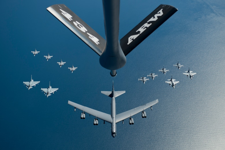 A U.S. Air Force B-52 Stratofortress leads a formation of aircraft, including two Polish air force F-16 Fighting Falcons, four U.S. Air Force F-16 Fighting Falcons, two German Eurofighter Typhoons and four Swedish Gripens over the Baltic Sea, June 9, 2016. The formation was part of exercise BALTOPS 2016. (U.S. Air Force photo/Senior Airman Erin Babis)
