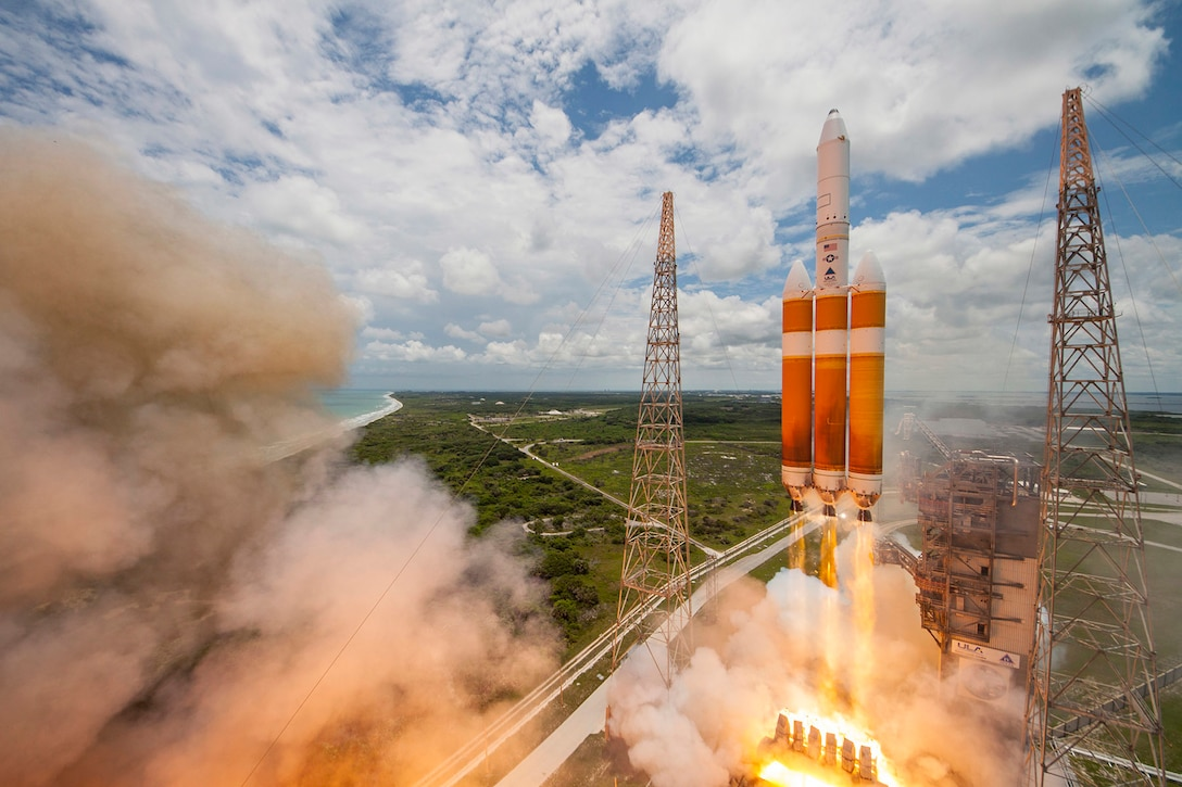 An United Launch Alliance Delta IV-Heavy rocket lifts off from Space Launch Complex 37B at Cape Canaveral Air Force Station, Fla., June 11, 2016. The Delta IV rocket carried a classified national security payload for the U.S. National Reconnaissance Office. (Courtesy photo/United Launch Alliance)
