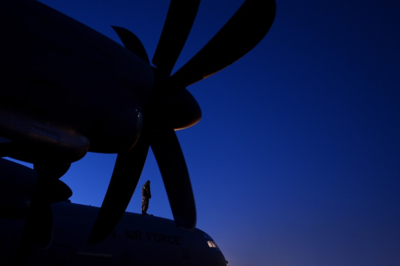 Senior Airman Jon Huggins, a 19th Aircraft Maintenance Squadron crew chief, performs a pre-flight inspection on a C-130J Super Hercules at Little Rock Air Force Base, Ark., Nov. 16, 2016. The C-130 Hercules primarily performs the tactical portion of the airlift mission. The aircraft is capable of operating from rough, dirt strips and is the prime transport for airdropping troops and equipment into hostile areas. (U.S. Air Force photo/Staff Sgt. Kenny Holston)