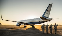 Base leadership salute as Defense Secretary Ash Carter's aircraft taxies away after a visit to Eglin Air Force Base, Fla., Nov. 17, 2016. Carter visited numerous locations around Eglin AFB and Hurlburt Field, Fla. during his tour of the local area. (U.S. Air Force photo/Samuel King Jr.)