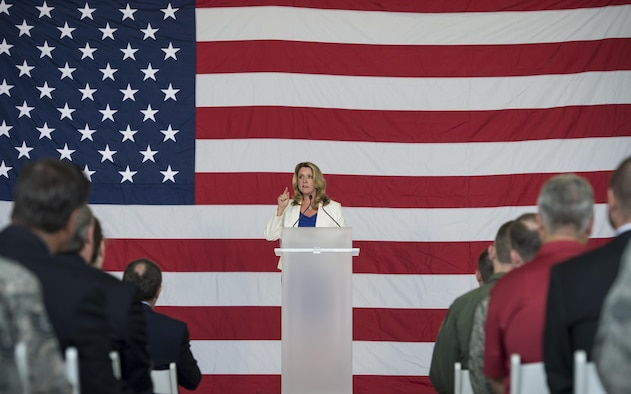 Air Force Secretary Deborah Lee James Speaks During The F 35A Lightning II Initial Operational