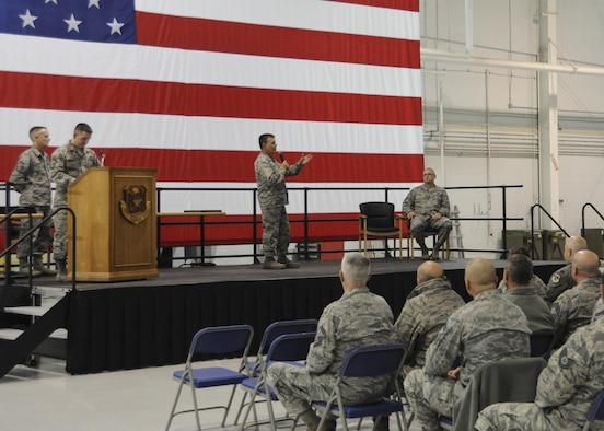 U.S. Air Force Col. James Brock, 442d Maintenance Group commander, addresses the men and women of the 442d Fighter Wing during the non-commissioned officer and senior NCO induction ceremony at Whiteman Air Force Base, Missouri, Jan. 7, 2017. Brock congratulated the incoming NCOs and SNCOs on their promotions and thanked them for their dedication to the unit. (U.S. Air Force photo/Senior Airman Missy Sterling)