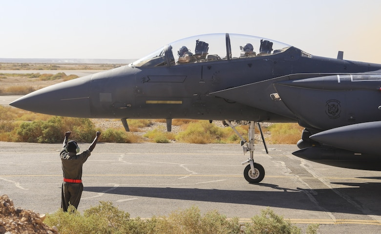 An F-15E Strike Eagle, assigned to the 366th Fighter Wing, taxis at an undisclosed location in Southwest Asia, October 5th, 2016. The multi-role 4 genertation aircraft has been active in the region for more than 20 years.(Courtesy Photo)