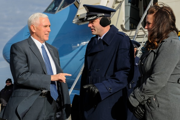 Vice President-elect Mike Pence greets Staff Sgt. Steven Howard, 89th Aerial Port Squadron special air missions supervisor, at Joint Base Andrews, Md., Jan. 9, 2017. Pence was in the area in preparation to take office on Jan. 20. (U.S. Air Force photo by Staff Sgt. Stephanie Morris)