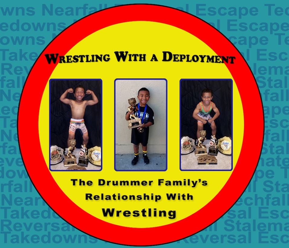Staff Sgt. Raymond Drummer II,9th Maintenance Squadron aircraft fuels systems craftsman and his eight-year-old son Josiah Drummer, share a passion for the sport of wrestling. Raymond is currently deployed to Southwest Asia during his son's wrestlling season.(U.S. Air Force photo illustration/Airman Tristan. D. Viglianco)