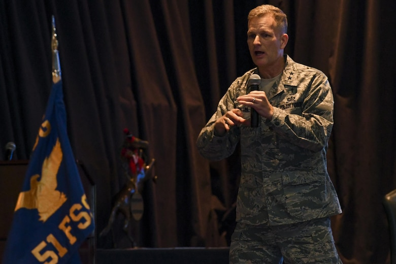 Chap. (Maj. Gen.) Dondi E. Costin, Air Force Chief of Chaplains, speaks to a crowd of Airmen and family members at Osan Air Base, Republic of Korea, Dec. 29, 2016. Costin visited Osan to learn about the challenges faced by Airmen and their families firsthand, while also taking the opportunity to spread his message of resiliency. (U.S. Air Force photo by Senior Airman Victor J. Caputo)