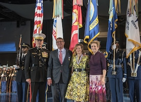 Defense Secretary Ash Carter and his wife, Stephanie, pose with Marine Corps Gen. Joe Dunford, chairman of the Joint Chiefs of Staff, and his wife Ellyn, during a farewell ceremony for Carter on behalf of the armed forces at Joint Base Myer-Henderson Hall, Va., Jan. 9, 2017. DoD photo by Air Force Tech. Sgt. Brigitte N. Brantley