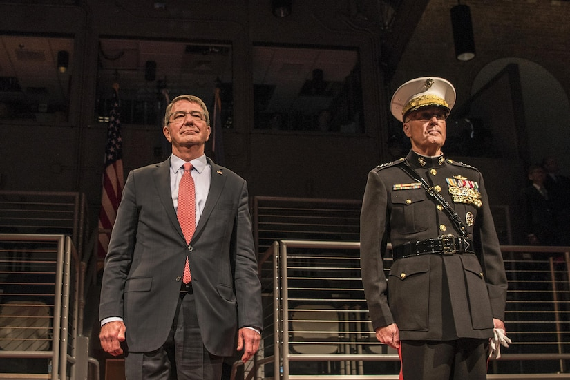 Defense Secretary Ash Carter and Marine Corps Gen. Joe Dunford, chairman of the Joint Chiefs of Staff, attend Carter's farewell ceremony at Joint Base Myer-Henderson Hall, Va., Jan. 9, 2016. DoD photo by Air Force Tech. Sgt. Brigitte N. Brantley