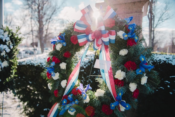 A wreath provided by the White House on behalf of President Barack Obama sits on display at the grave of President Millard Fillmore, Forest Lawn Cemetery, Buffalo, N.Y., Jan. 6, 2017. Col. Gary R. Charlton, vice commander of the 107th Airlift Wing, Niagara Falls Air Reserve Station, presented the wreath at a ceremony held by the University at Buffalo, a school which Fillmore was one of the founders. (U.S. Air Force Photo by Staff Sgt. Ryan Campbell