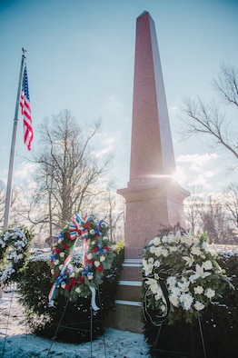 A wreath provided by the White House on behalf of President Barack Obama sits on display at the grave of President Millard Fillmore, Forest Lawn Cemetery, Buffalo, N.Y., Jan. 6, 2017. Col. Gary R. Charlton, vice commander of the 107th Airlift Wing, Niagara Falls Air Reserve Station, presented the wreath at a ceremony held by the University at Buffalo, a school which Fillmore was one of the founders. (U.S. Air Force Photo by Staff Sgt. Ryan Campbell)