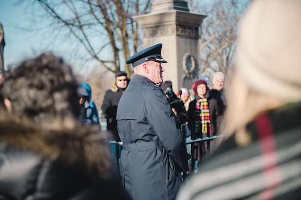 Col. Gary R. Charlton, vice commander of the 107th Airlift Wing, Niagara Falls Air Reserve Station, delivers remarks after presenting a wreath at the grave of President Millard Fillmore, on behalf of President Barack Obama, Forest Lawn Cemetery, Buffalo, N.Y., Jan. 6, 2017. The ceremony, which is held by the University at Buffalo, a school which Fillmore was one of the founders, commemorates the former president's birthday. (U.S. Air Force Photo by Staff Sgt. Ryan Campbell)