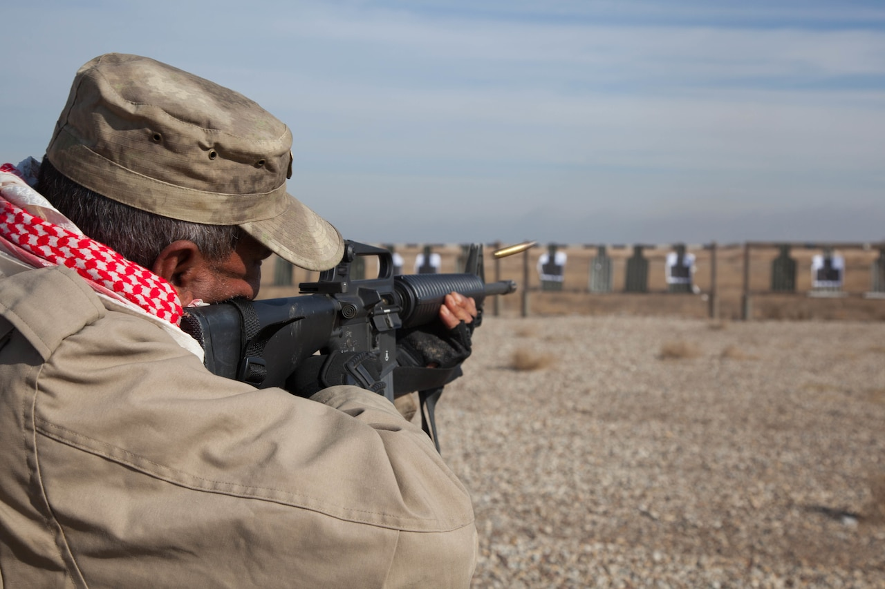 An Iraqi security forces soldier fires a M16A2 during training at Besmaya Range Complex, Iraq, Jan. 06, 2017. BRC is one of four Combined Joint Task Force – Operation Inherent Resolve locations dedicated to building partner capacity. CJTF-OIR is the global Coalition to defeat ISIL in Iraq and Syria. (U.S. Army photo by Sgt. Joshua Wooten)