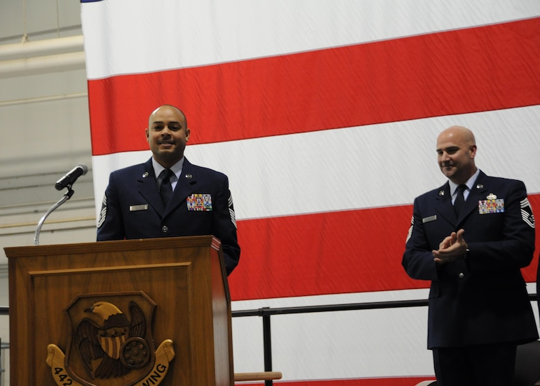 U.S. Air Force Chief Master Sgt. Kellie Askew, 442d Aircraft Maintenance Squadron deputy superintendent, address the audience during his promotion ceremony at Whiteman Air Force Base, Missouri, Jan. 7, 2017. Askew began his Air Force career as an F-16 crew chief at Hill AFB, Utah. (U.S. Air Force photo/Senior Airman Missy Sterling)