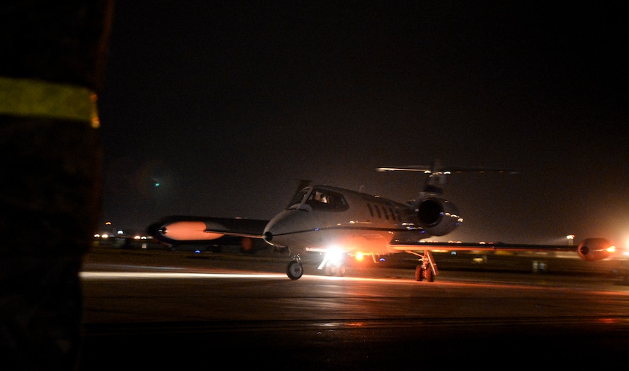 A C-21 Learjet taxies on the flightline Jan. 5, 2016, on RAF Mildenhall, England. The jet carried U.S. Air Force Lt. Gen. Richard Clark, 3rd Air Force commander, U.S. Air Force Chief Master Sgt. Phillip Easton, 3rd Air Force command chief, along with their spouses. (U.S. Air Force photo by Airman 1st Class Tenley Long)