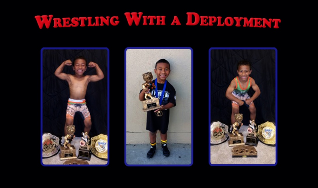 Staff Sgt. Raymond Drummer II, 9th Maintenance Squadron aircraft fuels systems craftsman and his eight-year-old son Josiah Drummer, share a passion for the sport of wrestling. Raymond is currently deployed to Southwest Asia during his son's wrestling season. (U.S. Air Force photo illustration/Airman Tristan. D. Viglianco)