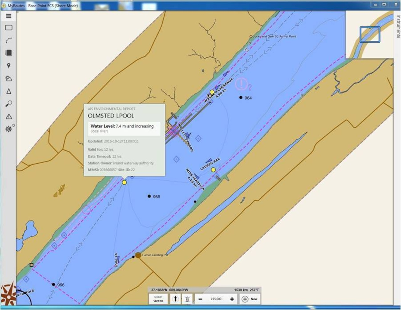 A screen from a commercial Electronic Chart System shows both electronic Aids to Navigation and enhanced Marine Safety Information in the vicinity of the Olmsted Lock near Olmsted, Ill. Coast Guard graphic