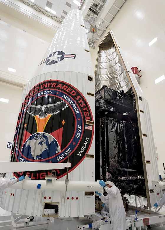 SBIRS GEO-3 is encapsulated at Cape Canaveral Air Force Station, Florida, Jan. 10 preparation for its scheduled Jan. 19 launch. The launch window is scheduled to open at  7:46 p.m., EST. (Photo courtesy of Lockheed Martin)