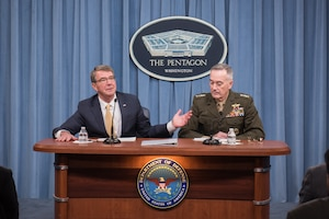 Defense Secretary Ash Carter and Marine Corps Gen. Joe Dunford, chairman of the Joint Chiefs of Staff, brief reporters at the Pentagon, Jan. 10, 2017. DoD Photo by Army Sgt. James K. McCann