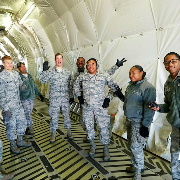 A group of 19 Aerial Port personnel from the 38th Aerial Port Squadron board a C-17 on cool brisk morning at Joint Base Charleston, South Carolina. The destination is a short flight to Dobbins Air Reserve Base, home of the Air Transportation Proficiency Center and Deployment Readiness Training. The ATPC's goal is to train Reserve Airman in the Air Transportation career field to be proficient in their career field. (Courtesy photo)