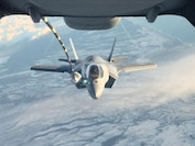 An F-35B from Marine Fighter Attack Squadron 121, 3rd Marine Aircraft Wing, refuels in flight while transiting the Pacific from Marine Corps Air Station Yuma, Ariz., to Joint Base Elmendorf-Richardson, Alaska, Jan. 9, 2017, with its final destination of Iwakuni, Japan.  VMFA-121 is the first operational F-35B squadron assigned to the Fleet Marine Force, with its relocation to 1st Marine Aircraft Wing at Iwakuni.  The F-35B was developed to replace the Marine Corps' F/A-18 Hornet, AV-8B Harrier and EA- 6B Prowler. The Short Take-off Vertical Landing aircraft is a true force multiplier. The unique combination of stealth, cutting-edge radar and sensor technology, and electronic warfare systems bring all of the access and lethality capabilities of a fifth-generation fighter, a modern bomber, and an adverse-weather, all-threat environment air support platform.