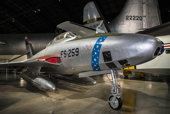DAYTON, Ohio -- Republic RF-84K Thunderflash on display in the Cold War Gallery at the National Museum of the United States Air Force. (U.S. Air Force photo by Ken LaRock)