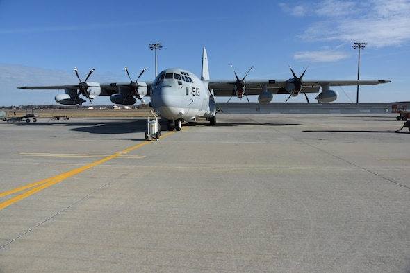 A project to retrofit Large Aircraft Infrared Countermeasures (LAIRCM) Advanced Threat Warning Systems onto the Navy C-130Js arrived at the Warner Robins Air Logistics Complex in fiscal 2016. It was completed ahead of schedule in early fiscal 2017 through the combined efforts of the 559th Aircraft Maintenance Squadron, the unit that performs depot-level maintenance, repair and modification for all C-5 aircraft, and the 560th Aircraft Maintenance Squadron, which does the same for the C-130. (U.S. Air Force Photo by Ed Aspera)
