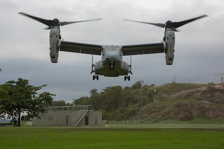 An MV-22B Osprey from Marine Medium Tiltrotor Squadron 764, 4th Marine Air Wing, Marine Forces Reserve, lands to disembark partner nations onboard during UNITAS Amphibious 2015 at Ilha do Governador, Brazil, Nov. 17, 2015. This exercise demonstrates the commitment of partner nations to ensure their Marine Corps/Naval infantries are postured to provide ready and relevant forces to respond to emergencies anywhere in the Western Hemisphere. (Photo taken by U.S. Marine Lance Cpl. Ricardo Davila/ Released)
