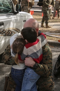 A Marine surprises his two children following a nine-month deployment with Special Purpose Marine Air-Ground Task Force Crisis Response-Africa at Camp Lejeune, N.C., Jan. 10, 2017. Marines and sailors with SPMAGTF-CR-AF return home after completing the mission of protecting U.S. personnel, property and interests in Europe and Africa. The Marines and sailors returning are with Combat Logistics Battalion 2. (U.S. Marine Corps photo by Lance Cpl. Miranda Faughn)