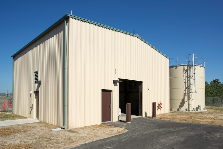 Pictured is a supporting facility for the newly unveiled Unmanned Aerial Systems hangar constructed at Camp Mackall near Fort Bragg, North Carolina. The facility, built by Caddell Construction, won the state and national-level Associated Builders and Constractors, Inc. Excellence in Construction Competition in December 2016. It also received state-level honors from the Associated General Contractors of America.