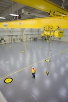 Inside the newly unveiled Unmanned Aerial Systems hangar constructed at Camp Mackall near Fort Bragg, North Carolina. The facility, built by Caddell Construction, won the state and national-level Associated Builders and Constractors, Inc. Excellence in Construction Competition in December 2016. It also received state-level honors from the Associated General Contractors of America.