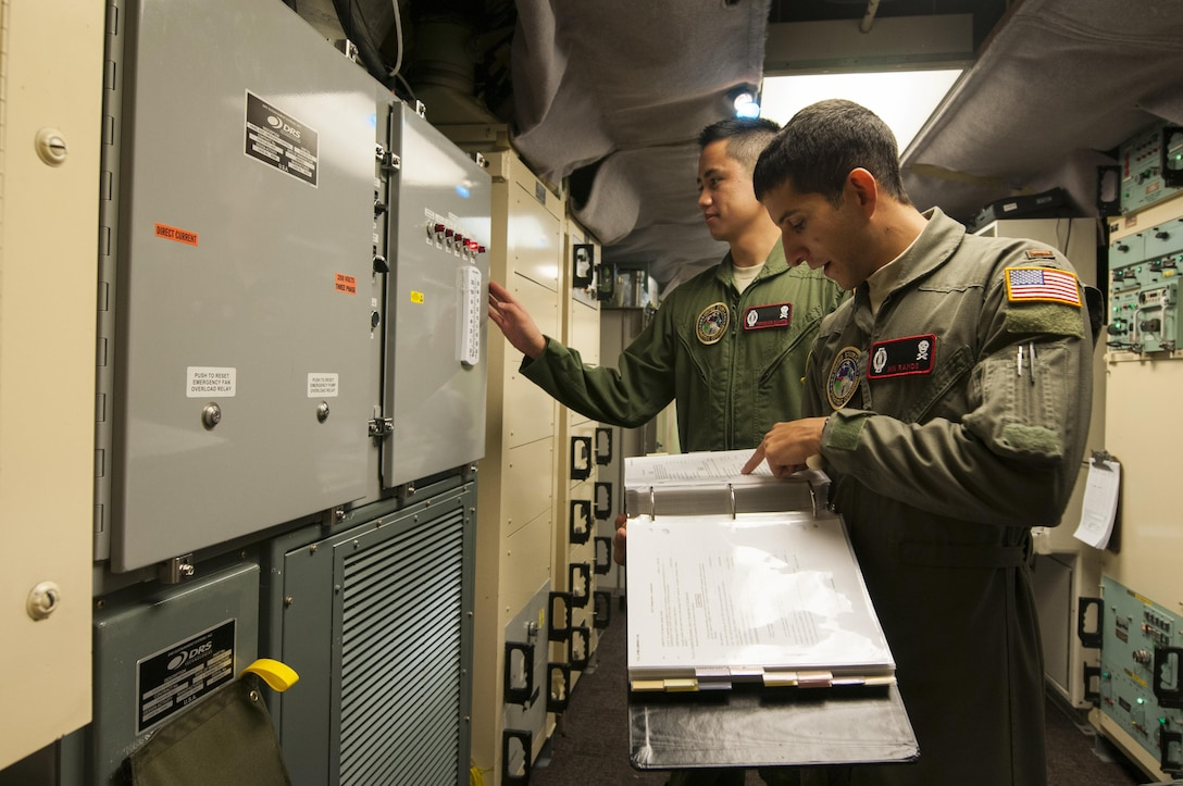 Second Lt. Nikolas Ramos, 320th Missile Squadron deputy missile combat crew commander, reads a checklist while 1st Lt. Terrence Dale Duarte, missile combat crew commander, complies with the instructions in a launch control center at F.E. Warren Air Force Base, Wyo., Nov. 5, 2016. The 90th Missile Wing sustains 150 Minuteman III ICBMs and the associated launch facilities that cover 9,600 square miles across three states. (U.S. Air Force photo/Staff Sgt. Christopher Ruano)