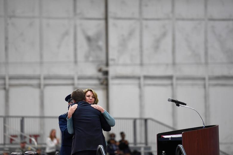 Secretary of the Air Force Deborah Lee James hugs Secretary of Defense Ash Carter during her farewell ceremony at Joint Base Andrews, Md., Jan. 11, 2017.  James took office as the 23rd secretary of the Air Force in December 2013. (U.S. Air Force photo/Scott M. Ash)