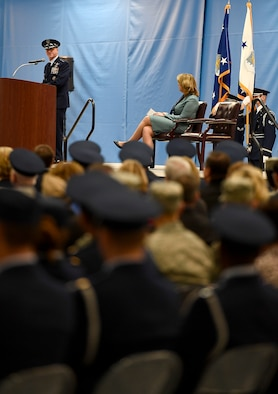 Air Force Chief of Staff Gen. David L. Goldfein speaks about Secretary of the Air Force Deborah Lee James during her farewell ceremony at Joint Base Andrews, Md., Jan. 11, 2017.  James took office as the 23rd secretary of the Air Force in December 2013. (U.S. Air Force photo/Scott M. Ash)