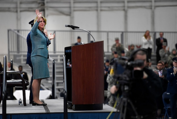 Secretary of the Air Force Deborah Lee James waves to attendees during her farewell ceremony at Joint Base Andrews, Md., Jan. 11, 2017.  James took office as the 23rd secretary of the Air Force in December 2013. (U.S. Air Force photo/Scott M. Ash)