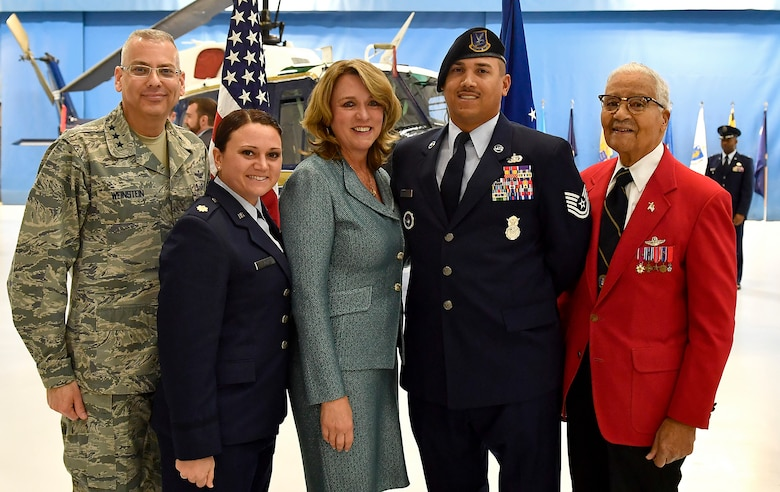 From left, Lt. Gen. Jack Weinstein, Maj. Dana Lyon, Tech. Sgt. Brian Williams, and Tuskegee Airman Col. Charles McGee pose with Secretary of the Air Force Deborah Lee James at her farewell ceremony at Joint Base Andrews, Md., Jan. 11, 2017 James took office as the 23rd secretary of the Air Force in December 2013. (U.S. Air Force photo/Scott M. Ash)