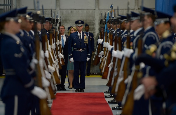 Lt. Col. Peter Tritsch, the U.S. Air Force Honor Guard commander, leads Secretary of the Air Force Deborah Lee James into her farewell ceremony at Joint Base Andrews, Md., Jan. 11, 2017.  James took office as the 23rd secretary of the Air Force in December 2013. (U.S. Air Force photo/Tech. Sgt. Joshua L. DeMotts)