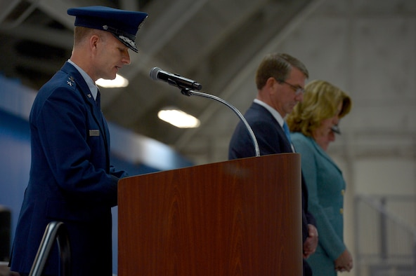 Maj. Gen. Dondi Costing, the Air Force chief of chaplains, gives the invocation at the farewell ceremony in honor of Secretary of the Air Force Deborah Lee James at Joint Base Andrews, Md., Jan. 11, 2017.  James took office as the 23rd secretary of the Air Force in December 2013. (U.S. Air Force photo/Tech. Sgt. Joshua L. DeMotts)