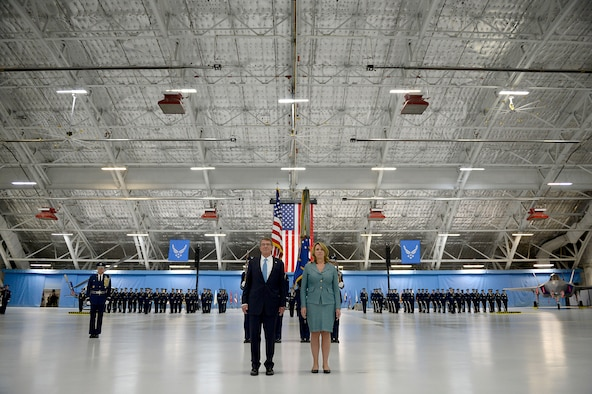 Secretary of Defense Ash Carter and Secretary of the Air Force Deborah Lee James listen to the citation for her Distinguished Public Service award during James' farewell ceremony at Joint Base Andrews, Md., Jan. 11, 2017.  James took office as the 23rd secretary of the Air Force in December 2013. (U.S. Air Force photo/Tech. Sgt. Joshua L. DeMotts)