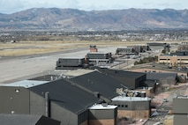 PETERSON AIR FORCE BASE, Colo. - The entire roof of a hangar next to the flightline lifted off the structure and blew over the rest of the building and parking lot during a wind storm Jan. 9, 2017 at Peterson Air Force Base, Colo. The air traffic controllers in the Federal Aviation Administration tower nearby had a clear birds-eye view of the hangar roof and saw the whole thing unfold in front of them. (U.S. Air Force photo by Senior Airman Rose Gudex)
