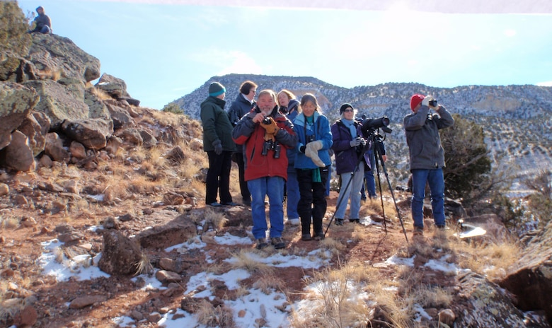 ABIQUIU LAKE, N.M. – Some of the volunteers counted eagles at fixed land viewing stations during the annual Midwinter Bald Eagle Watch, Jan. 7, 2017. In total of 12 eagles were counted.