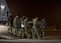 A U.S. Army carry team transfers the remains of Army Spc. Isiah L. Booker, of Cibolo, Texas, Jan. 11, 2017, during a dignified transfer at Dover Air Force Base, Del. Booker was assigned to the 2nd Battalion, 5th Special Forces Group, Fort Campbell, Ky. (U.S. Air Force photo by Senior Airman Zachary Cacicia)