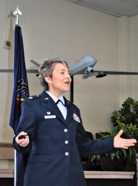 Lt. Col. Claudia Malone, 112th Cyberspace Operations Squadron commander, gives a speech after assuming command of the 111th Mission Support Group at Horsham Air Guard Station, Pa., Jan. 8, 2017. Prior to Malone's assumption as 111th MSG commander, the position was held by the current Pa. Air National Guard Commander Mike Regan. (U.S Air National Guard photo by Tech. Sgt. Andria Allmond)